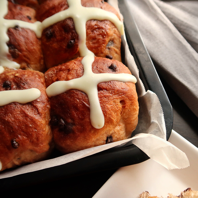 Double Chocolate Hot Cross Buns Recipe with Video by Bakeomaniac